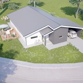 3D visualisering av villa från luft
