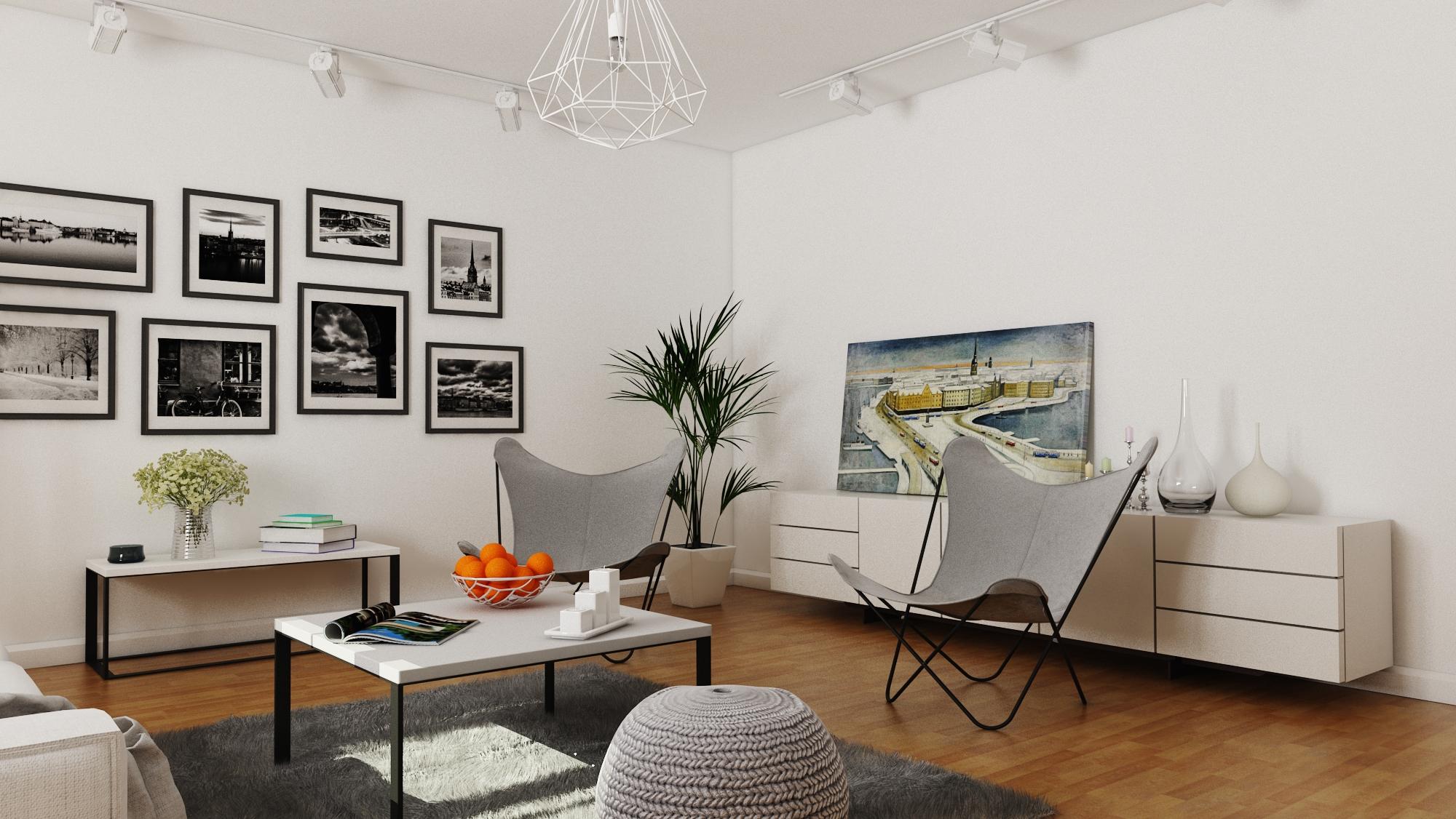 3D visualisering av vardagsrum