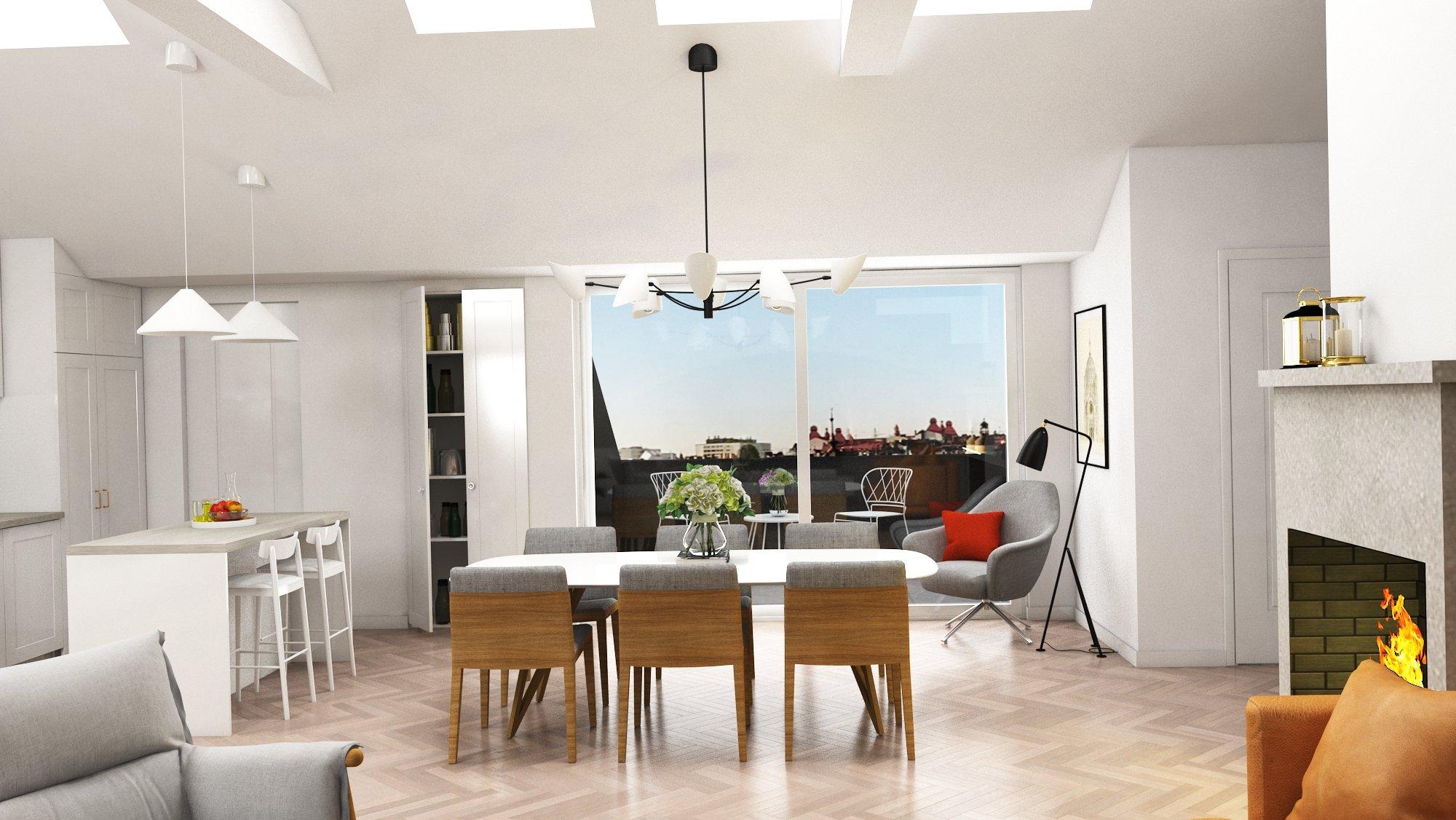 3D visualisering av takvåning