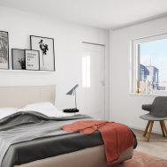 3d visualisering av sovrum