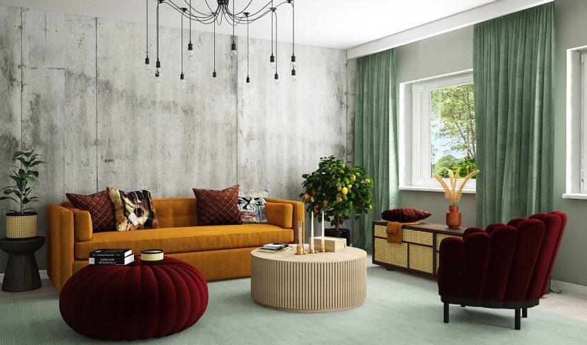 3D Vardagsrum i lägenhet