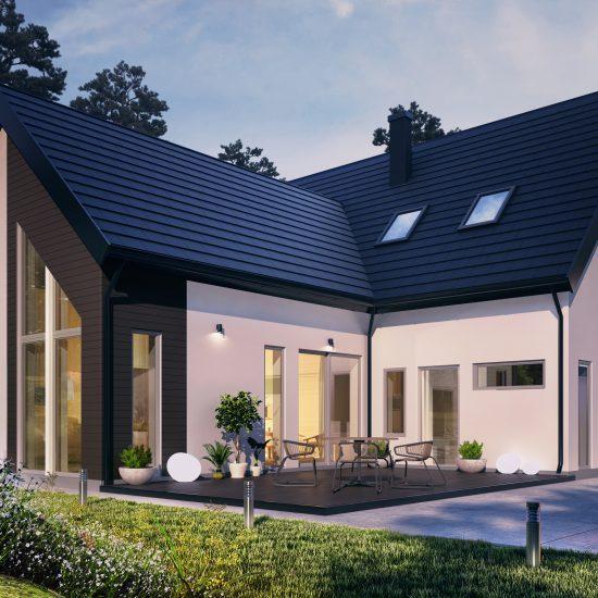 3D villa med kvällsljus
