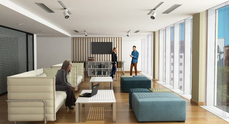 Kontorslokal i 3D öppet kontorslandskap